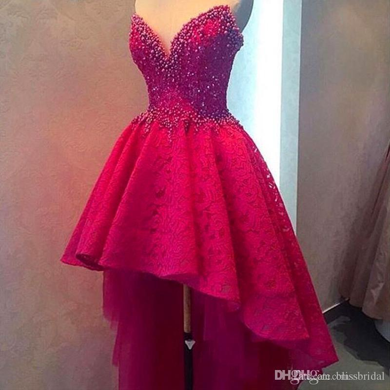 Stunning Fushia High Low Prom Dresses Strapless Beaded Lace Formal Evening Gowns Layered Puffy Women Party Gowns