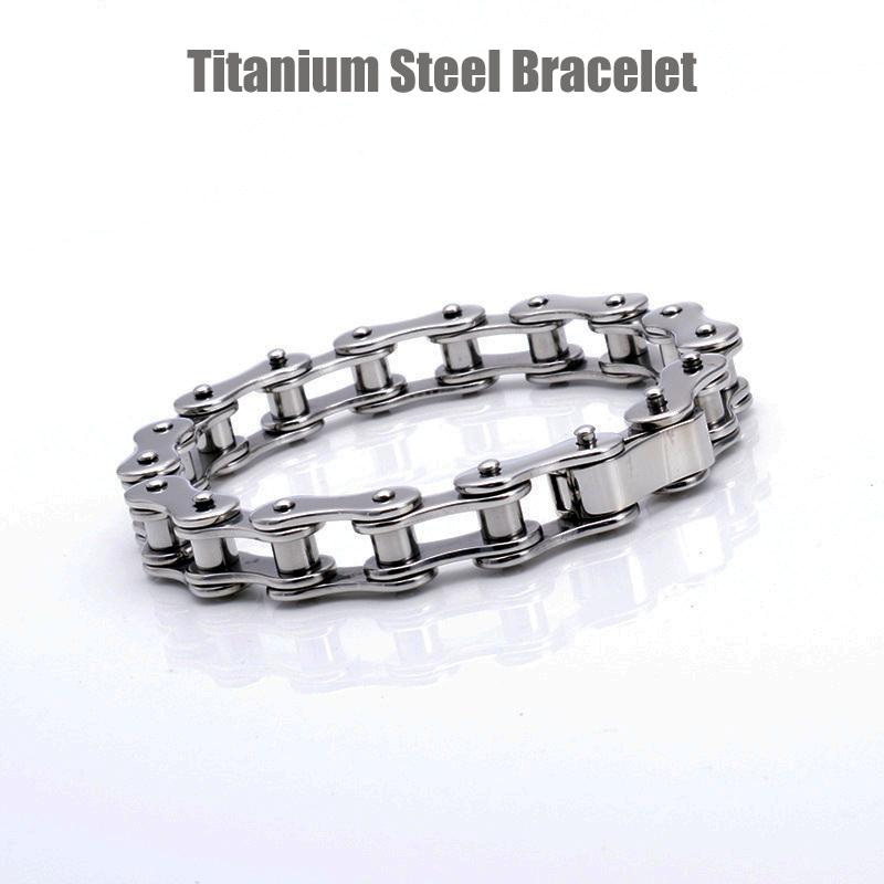 Titanium Steel Biker Bicycle Motorcycle Chains Invisible Safety Buckle Bracelet Wristbands Brace lace Male Trendy Jewelry Boys Accessories