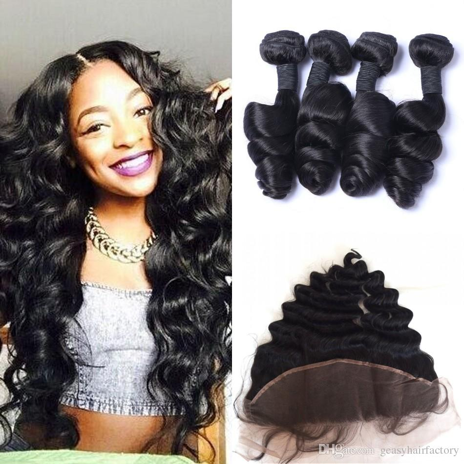 13x4 Full Frontal Lace Closure With Baby Hair Indian Loose Wave Human Hair  Bundles With Closure LaurieJ Hair Best Wet And Wavy Human Hair Weave Best  Hair ... 0120273ec