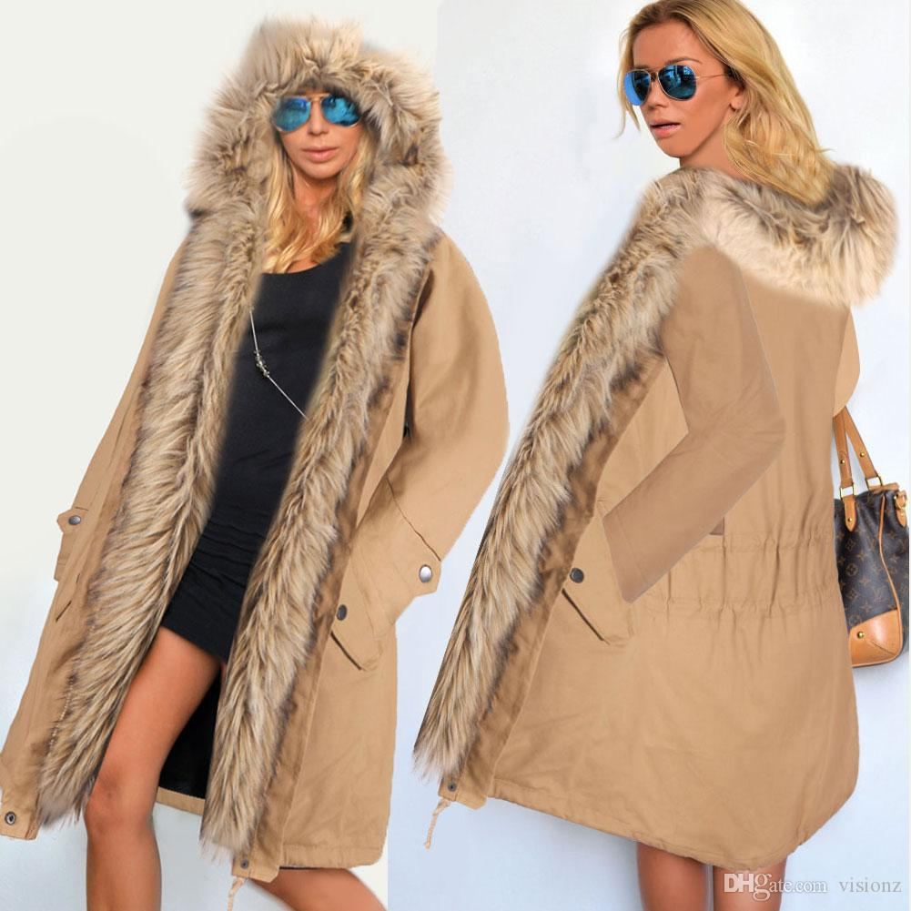 2018 Winter Womens Faux Fur Lining Parka Jacket Woman Raccoon Fur ...