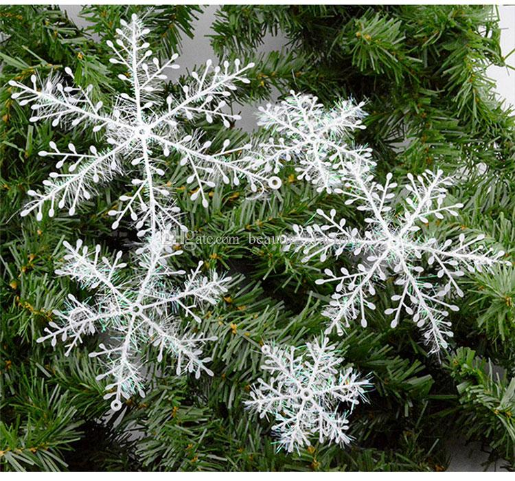 22cm Snowflake Ornament Xmas Christmas Classical Tree Decorations Home Party Decor White Color New