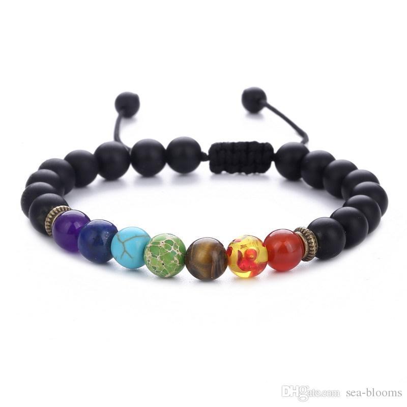 Yoga Reiki tissage Fil d'alimentation naturelle Bracelet Pierre Corde réglable Huile Essentielle Diffuseur Bracelet Top Vendeur préférés Gratuit DHL B739S