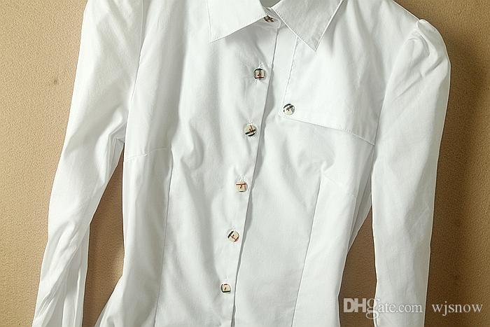 New Fashion Long Sleeve Cotton Bodysuit Blouse OL Slim White Shirts Tops Clothing SMLXL