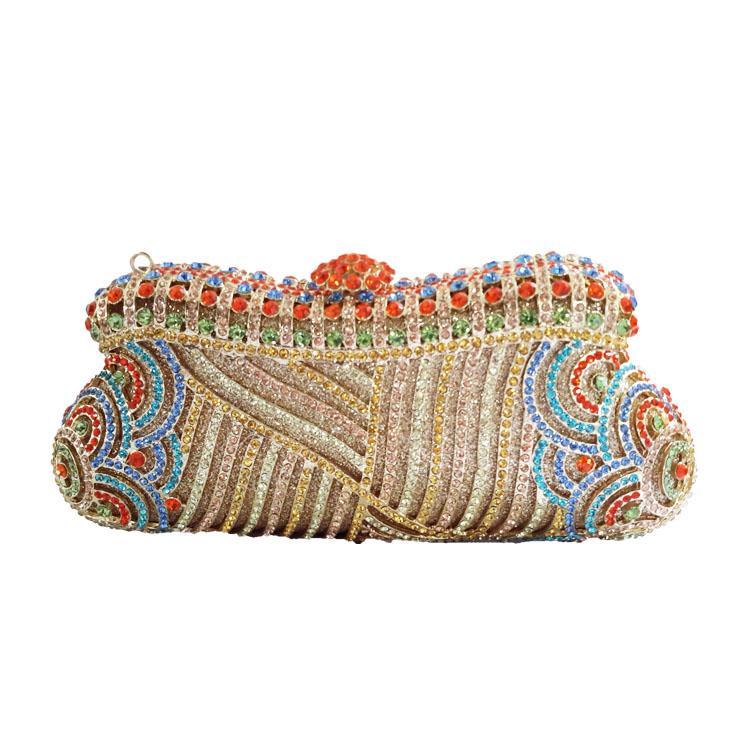 Africa Styles Damen Luxus Kristall Clutch Bag Abend Handtasche und Strass Kristall Box Kupplungen für Party Hochzeit Prom Bridal