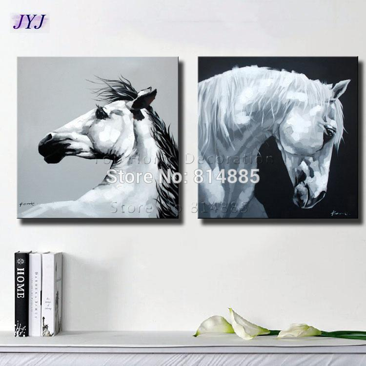 Black White Horses Canvas Art Wall Picture For Living Room Hand Painted Modern Abstract Oil Painting On CT106