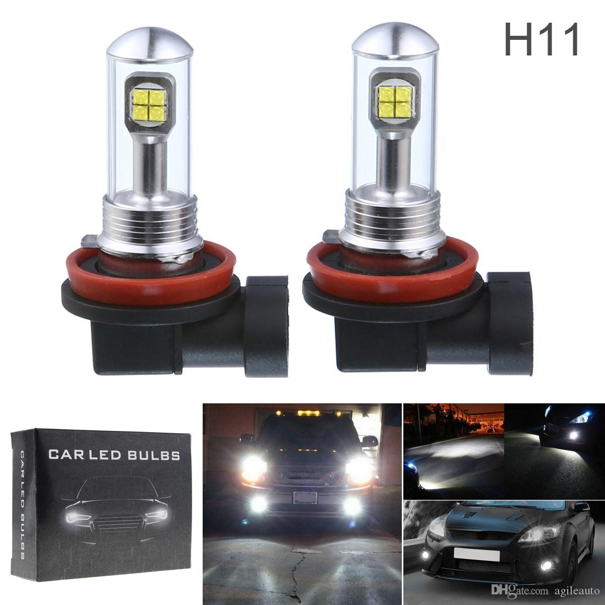 2 unids H11 40W LED Bombillas de luz antiniebla del coche Lámpara de conducción diurna DRL 6000K 1500LM Led faros de coche CLT_10C