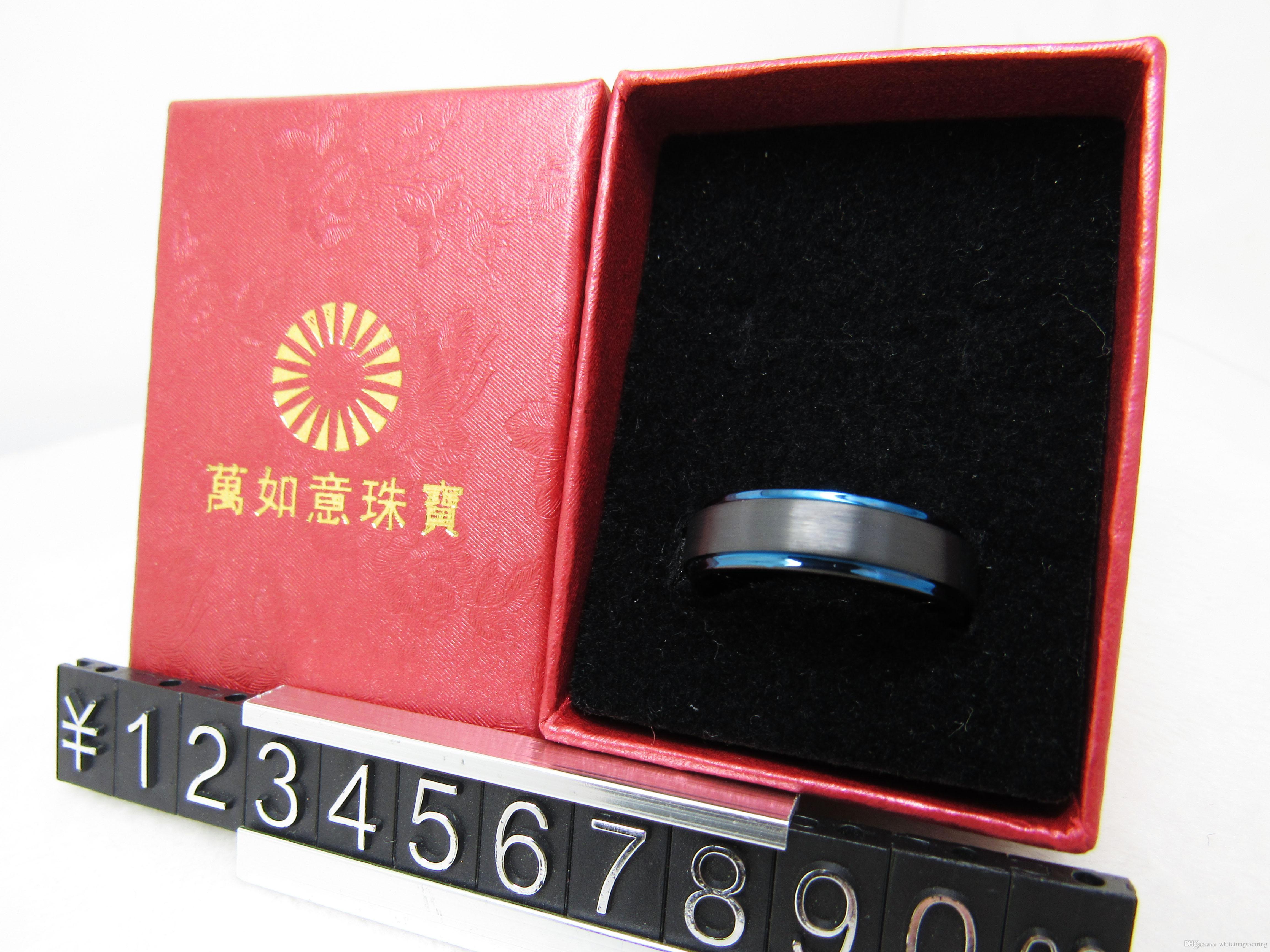 Borde de paso plano de 6 mm negro y bonito azul plateado banda de carburo de tungsteno WRY-299