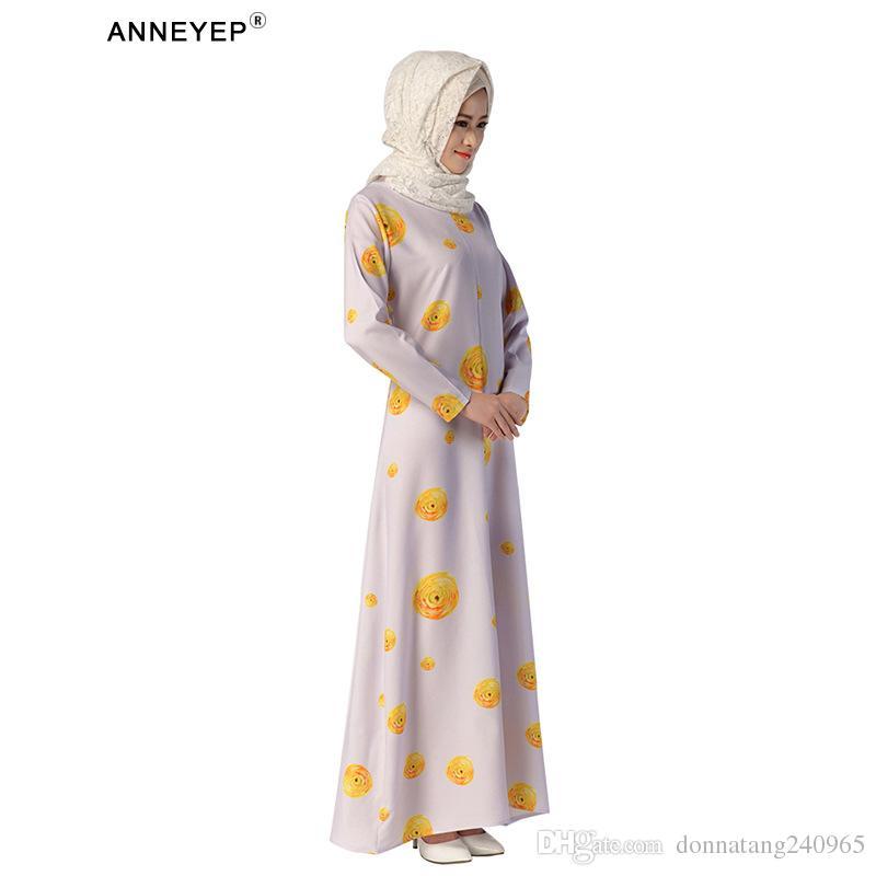 2016 nouveau style élégant robe musulmane avec des éléments chinois dubai turque abaya avec impression fleur robe
