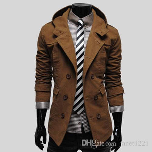 Suited Man Trench Coat Cotton Winter Mens Trench Hooded Casual Single Breasted Long Pea Overcoats For Men Solid Mult-color Trench J160754