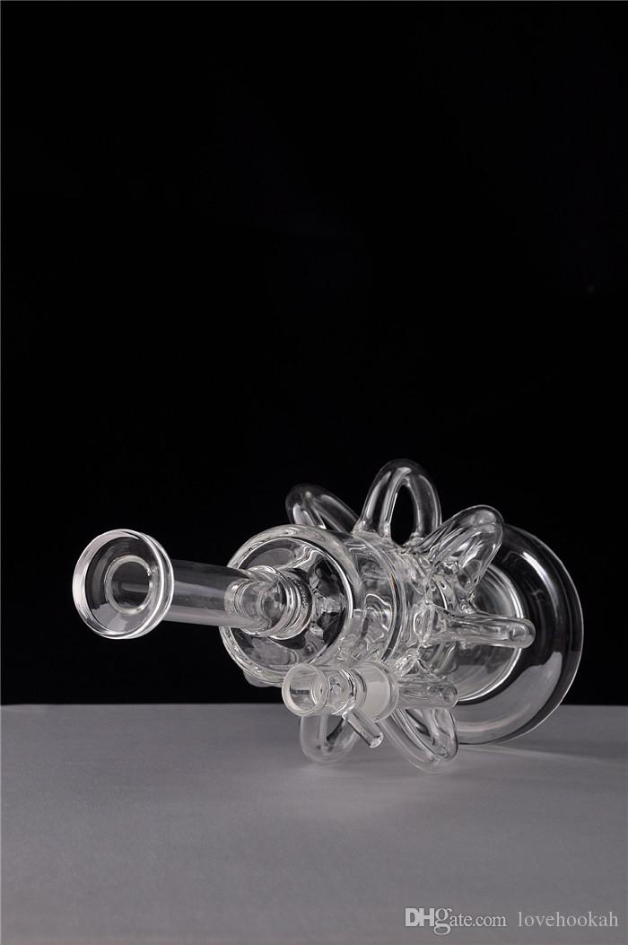 Funciona bien Reciclador Klein Bongs de vidrio Plataformas petroleras Bubber Cabezal de ducha negra Perc Filtro interior Pipa de fumar Hooakahs Shisha Barato