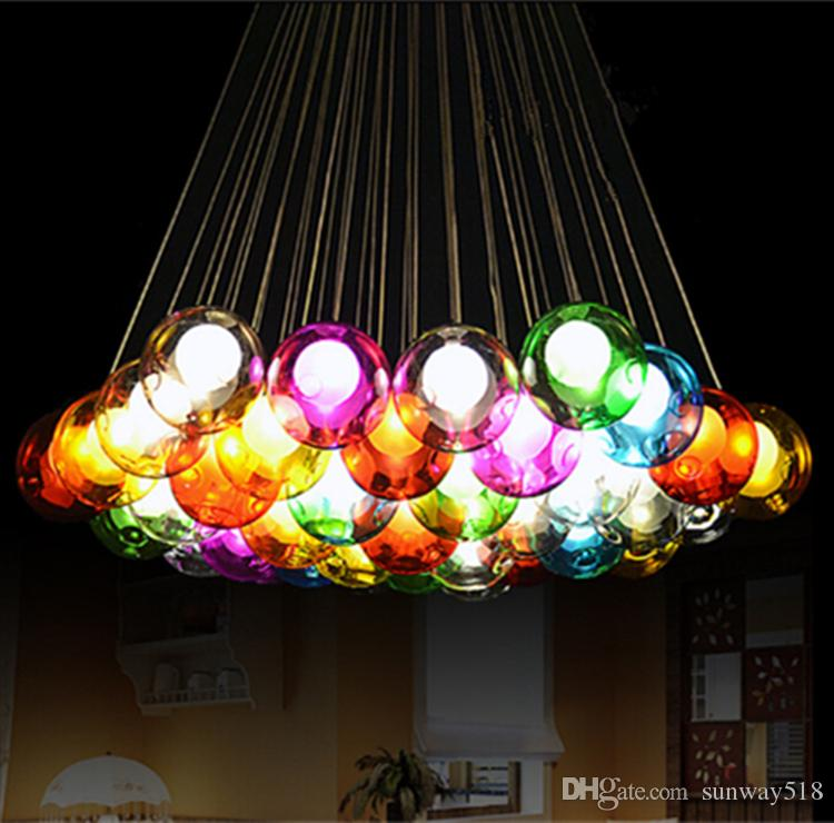Modern Crystal Chandelier Colorful Glass Ball LED Pendant ...