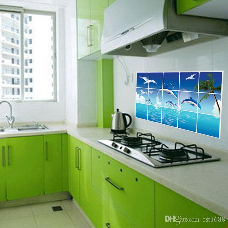 AY3026 Anti-oil Stickers for Kitchen Sea Dolphin Seagulls Tree Anti-oil Decals For Kitchen Wall Rooms Practical Stickers Home Decor