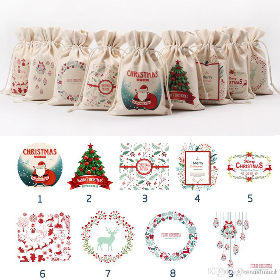 Christmas Gift Bags Childrens Sharing of Gifts String Bags Canvas ...
