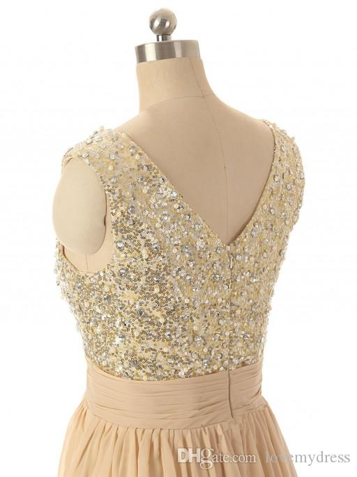 Bling Bridesmaid платья 2021 Кристаллы блестки жемчуг Дешевые цена v шея молнию обратно без рукавов линии стиль моды длинный выпускной