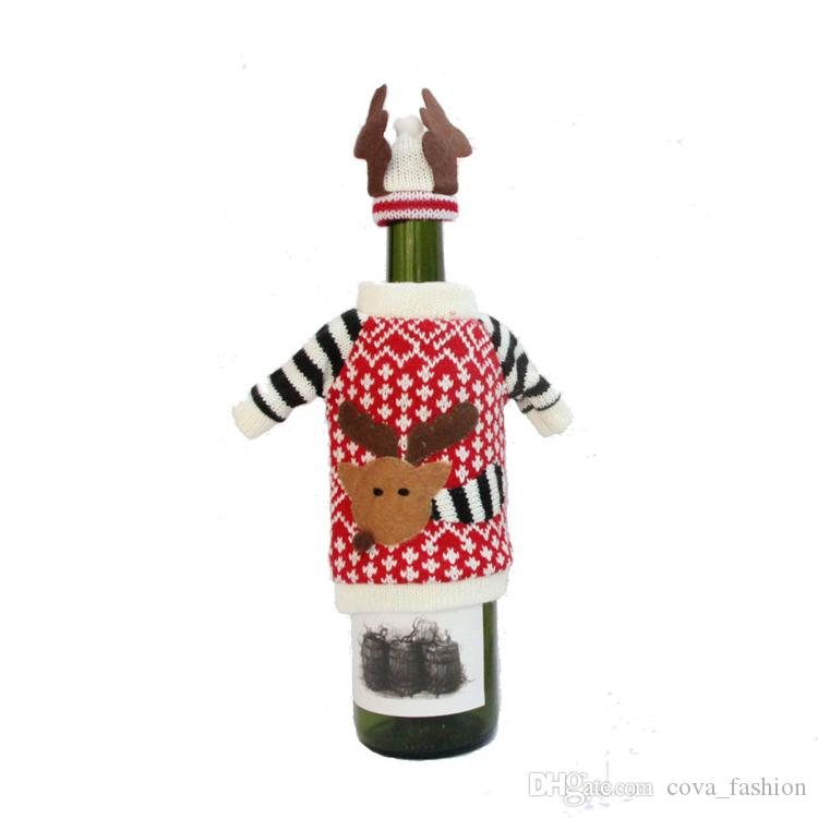 Cute Deer Pattern Knitted Cloth With Hat Christmas Wine Bottle Cover