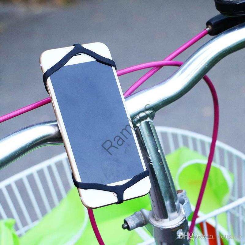 Elastic Silicone Rubber Band Bike Phone Mount Holder for iPhone 6 Plus 6S and All Smartphone