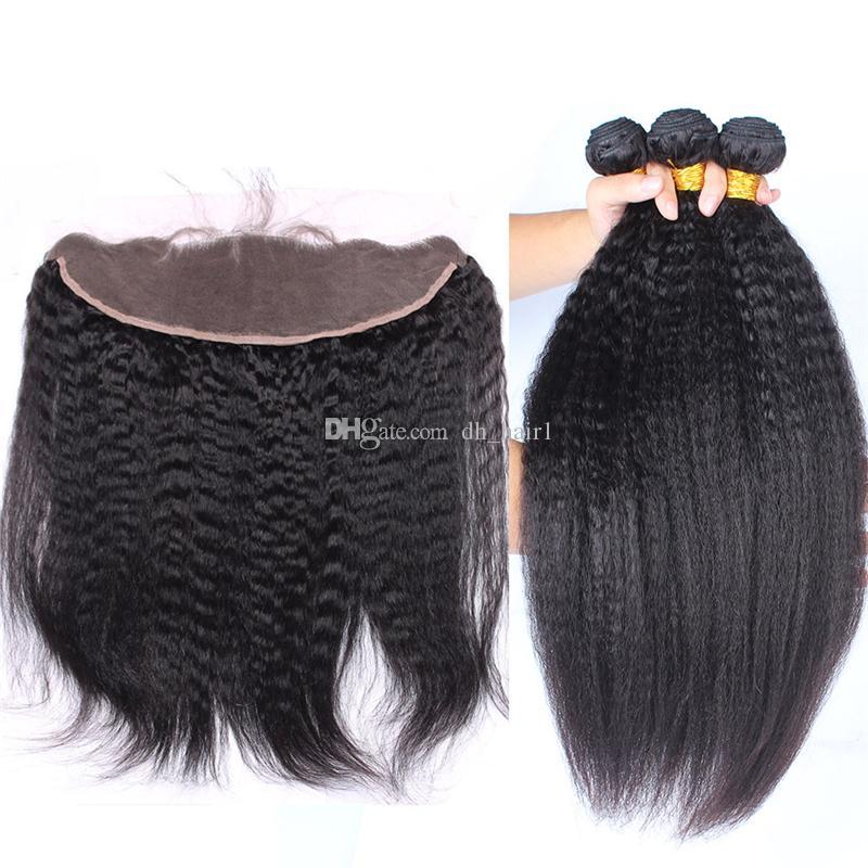 몽골 변태 직선 처녀 머리 레이스 정면 폐쇄 이탈리아어 거친 구이 인간의 머리 직조 번들 Frontals 표백 된 매듭