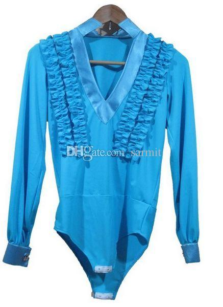 Camisa de baile latino para los hombres del muchacho es adultos tamaños de los cabritos D086 trajes de la danza del samba del traje del samba del tango ropa de la danza camisas latinas