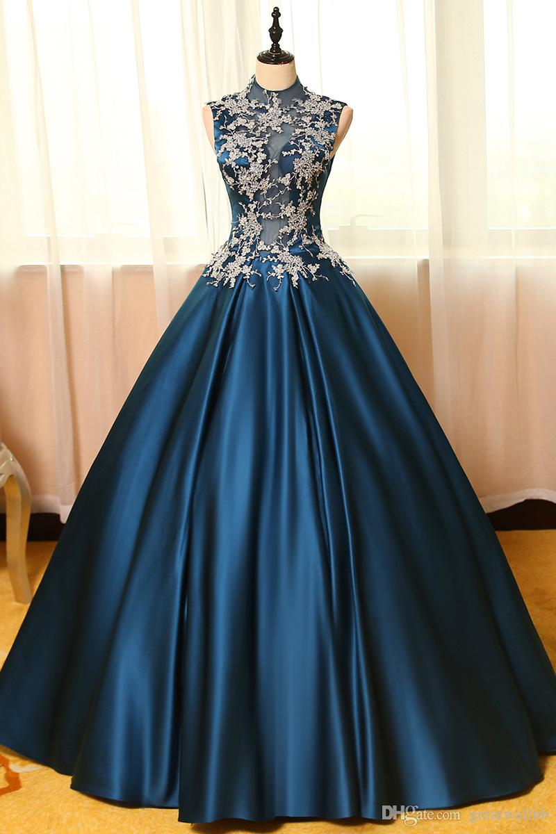 100%real Navy Blue Silver Flower Embroidery Theme Court Ball Gown ...
