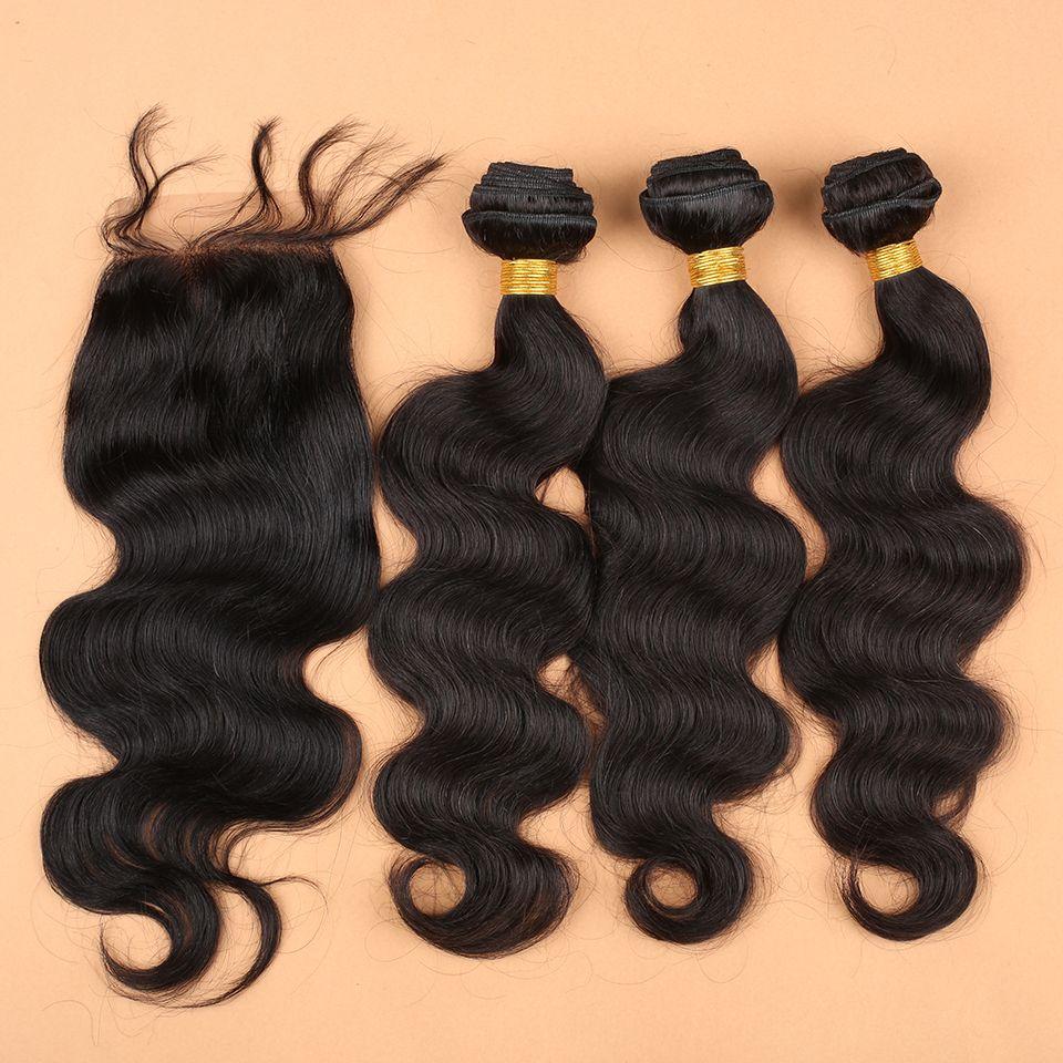 Brezilyalı Malezya Perulu Saç Uzantıları Doğal Renk Vücut Dalga 1 ADET 4 Yollu Bölüm Üst Dantel Kapatma 4