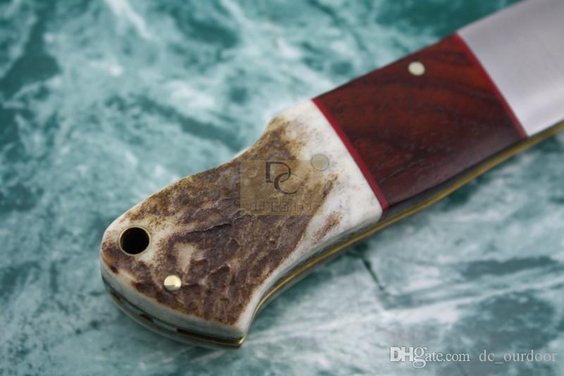 Lama in acciaio damasco Rosso palissandro + palchi Manico pieghevole da campeggio Coltello con fodero in pelle di alta qualità Spedizione gratuita