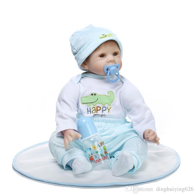 """22"""" So Truly Real Brown Eyes Hand Rooted Mohair Reborn Baby Dolls Very Soft Kids Toy Doll in Blue Baby Clothes"""