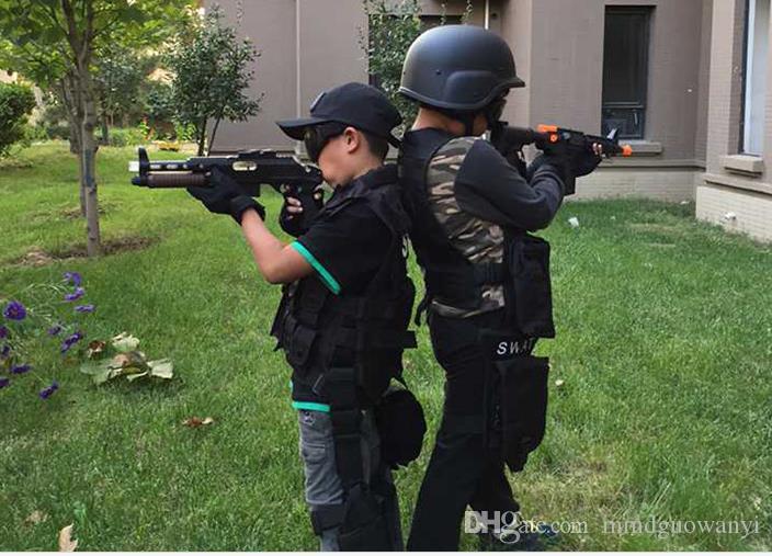 Vente chaude Unisexe En Gros Pas Cher Noir Nouvelle Armée Fan En Plein Air Équipement Enfants Gilet Formation Pour Les Enfants Tactique Gilet