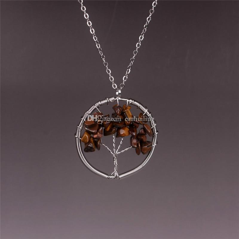 Amuleto Árvore da Vida Pingente de Ágata Imagem Jasper Unakite Colar de Cristal com Fio Envolver Pedras Tombado Gemstone Chakra Jóias Presente para Ela