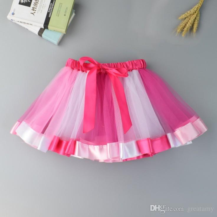 Nuovi bambini tutu arcobaleno abiti bambini pizzo principessa neonate gonna pettiskirt volant balletto gonna discoteca abbigliamento holloween