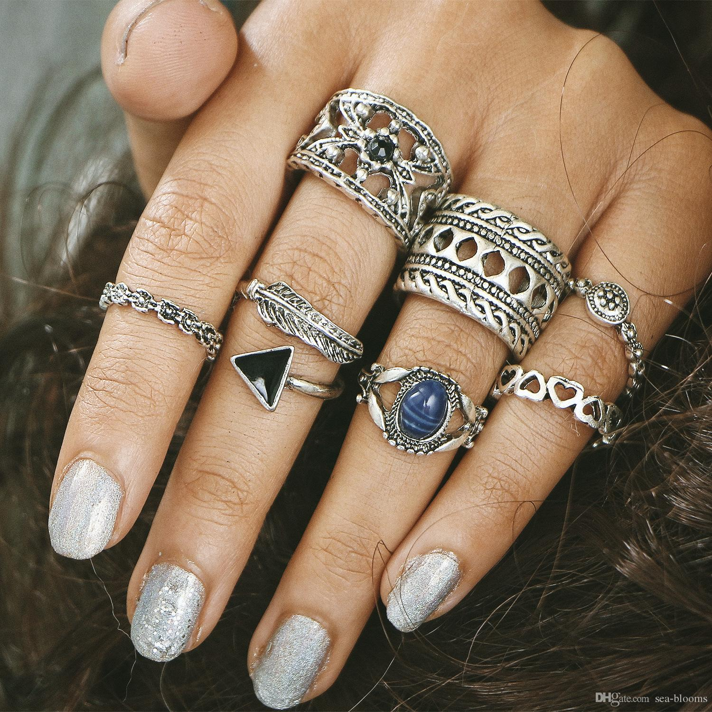 Bohemian Midi Ring Set Blue Gem Plated Knuckle Nail Boho Carved ...