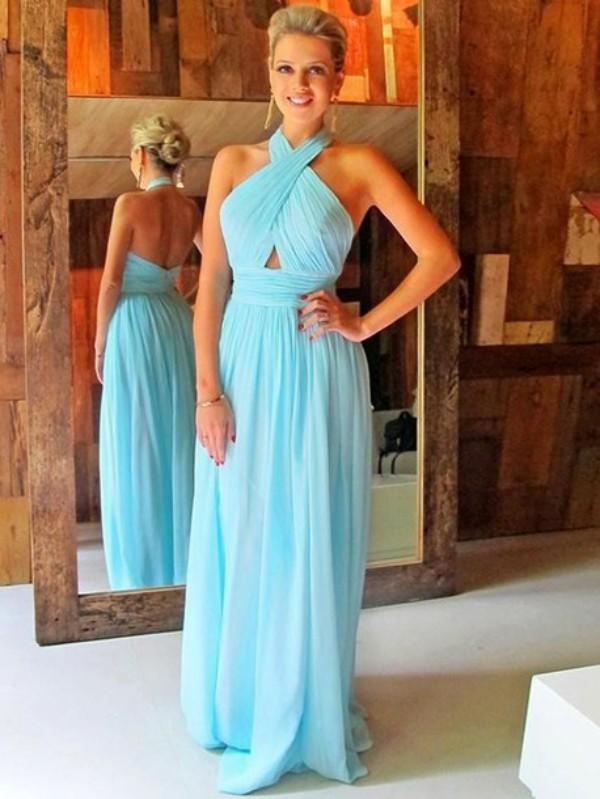 Sexy Prom Dresses Long Formal Halter Neck Sleeveless Backless Ruched Chiffon Light Blue Evening Party Gowns Beach Party Formal Wear