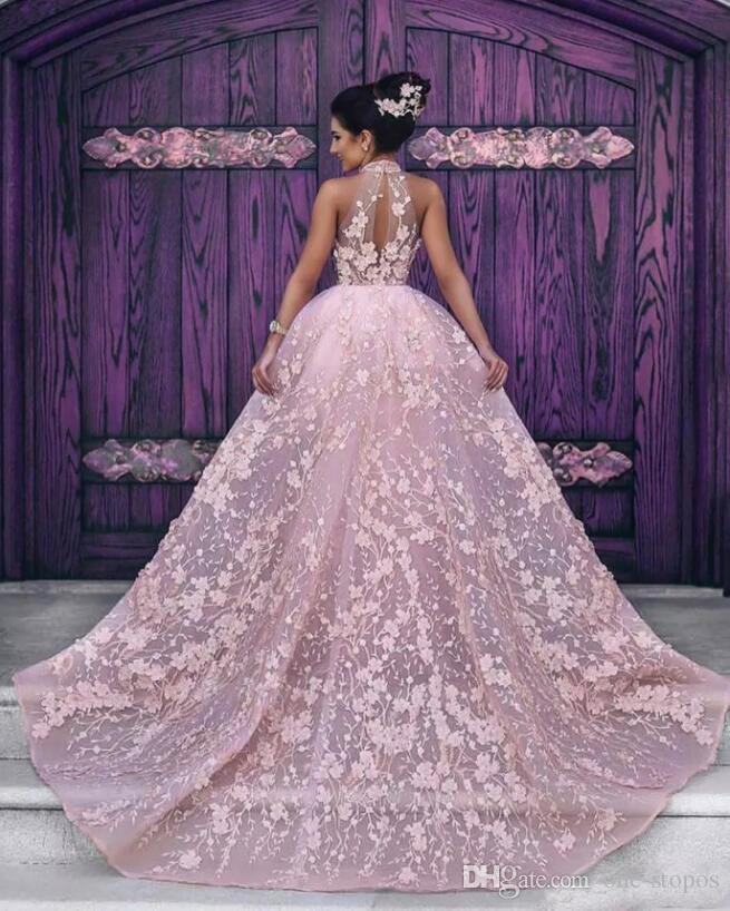 공식 아랍어 이브닝 드레스 아플리케 블러쉬 핑크 히어로 롱 분리형 기차가있는 유명 인사 파티 가운 맞춤 제작 베스 티드 페스티벌