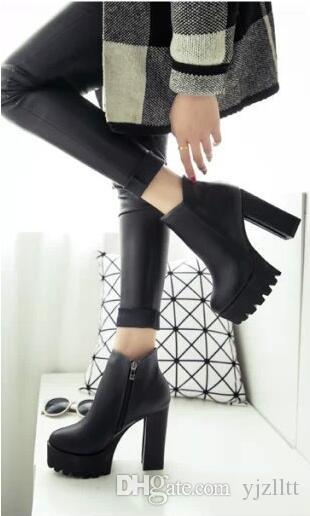Fashion Winter Thick Heel Women ankle Boots PU Leather Round Toe Thick Platform Side Zip Women Shoes Free delivery