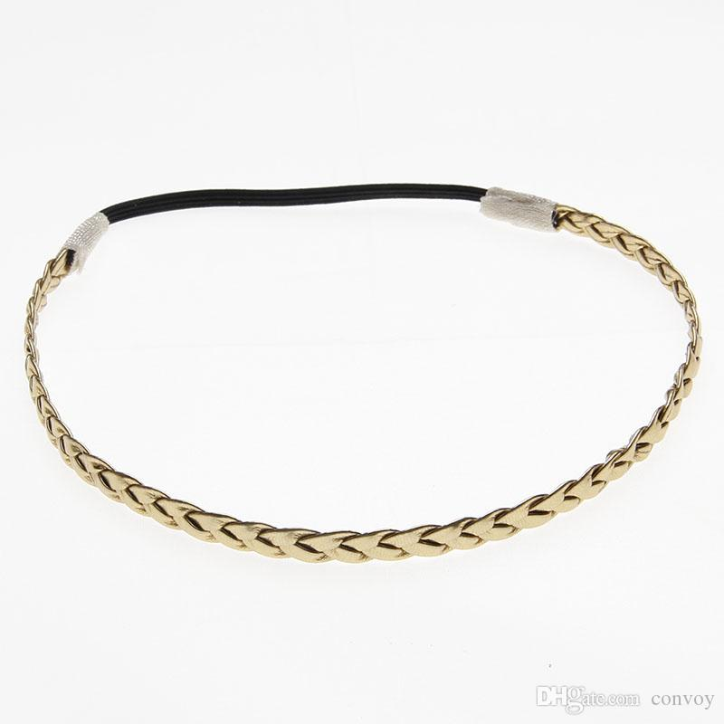 Baby Headbands Gold Silver Colors Elastic Braided bands For Baby Girls Hairbands Children Kids Head Bands Children Hair Accessories KHA191