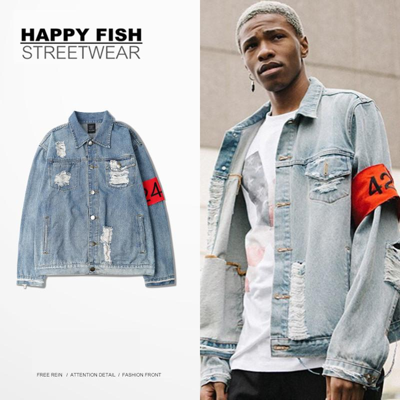 High Street 2016 Fashion Destroy Style Coats Hip Hop Mens Denim ...