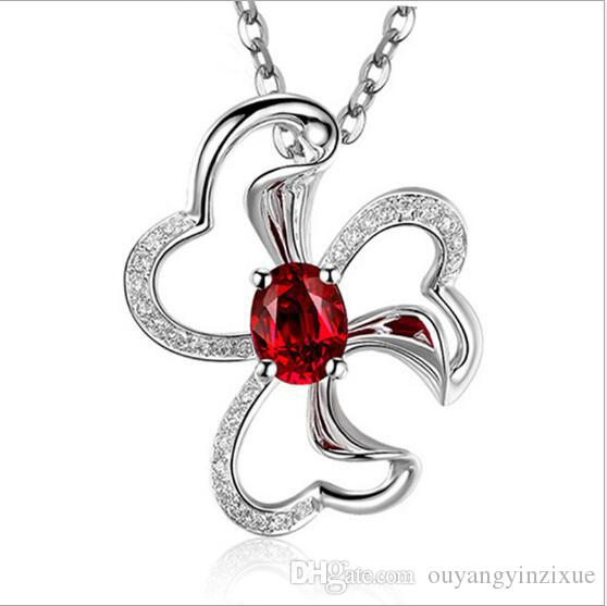 ddb863f9e5341 Women's Jewelry White Gold Plated 925 Sterling Silver Ruby Flower Pendant  Red Clavicle Necklace Jewelry Accessories
