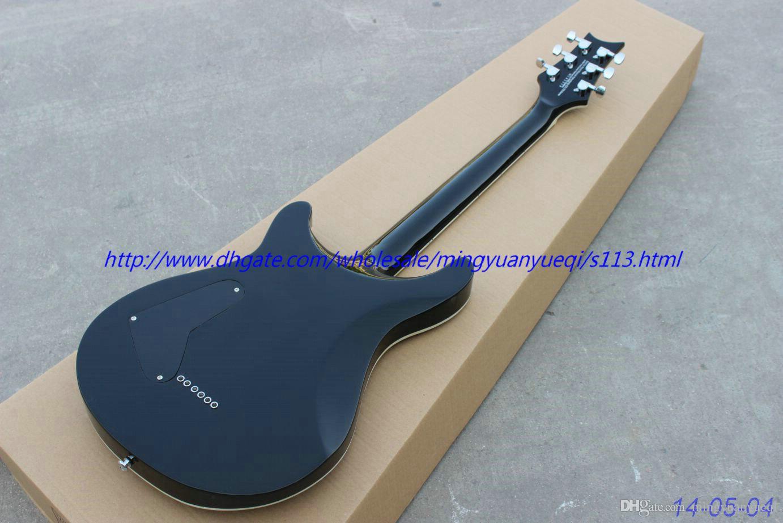 Nova marca guitarra elétrica maneira personalizada ver através azul, string através de virolas do corpo!