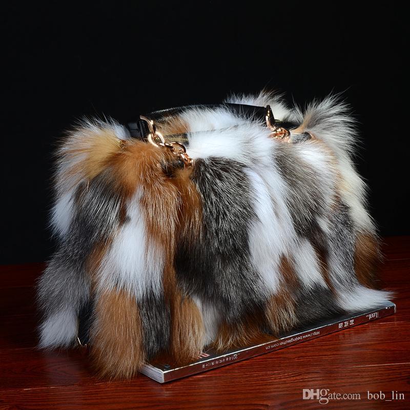 الثعلب الفراء حقائب النساء أزياء الشتاء الفاخرة حقيبة جلد طبيعي حقائب الكتف بولسا المؤنث رسول حقائب