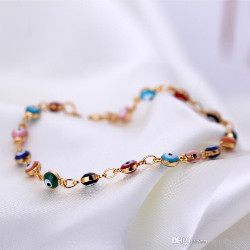 الرجعية 18 كيلو الذهب الأصفر مطلي متعدد الألوان الشر العين ربط سلسلة أساور أساور الأزياء والمجوهرات بيجو للنساء 20 سنتيمتر 7.87