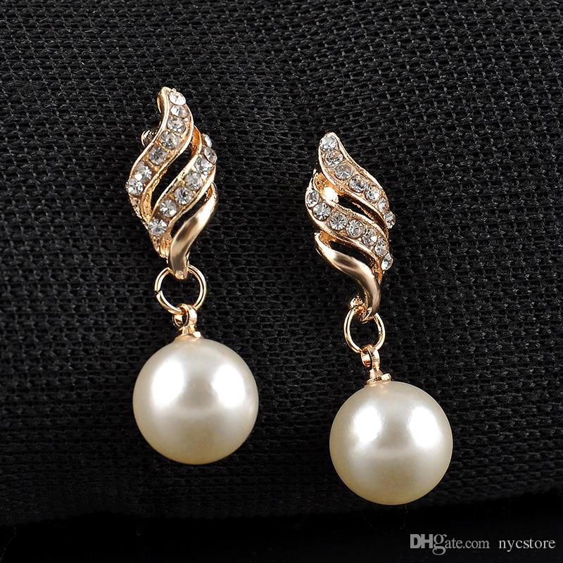 Chic Elegant Wedding Bridal Jewelry Sets Gold Imported Prom Party Alloy Pearls Rhinestone Jewelry Cheap Pearl Necklace Wedding Earrings Set