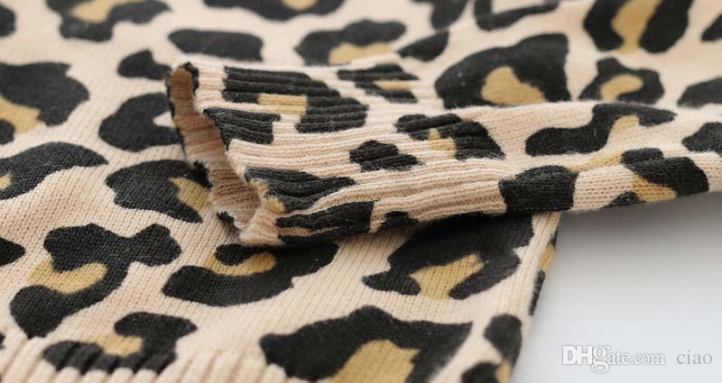 Suéteres de punto Leopard Crochet Cardigan Girl Dress 2016 Primavera Otoño Jersey Abrigo Niñas Tops Niños Ropa Niños Ropa Ciao C23275