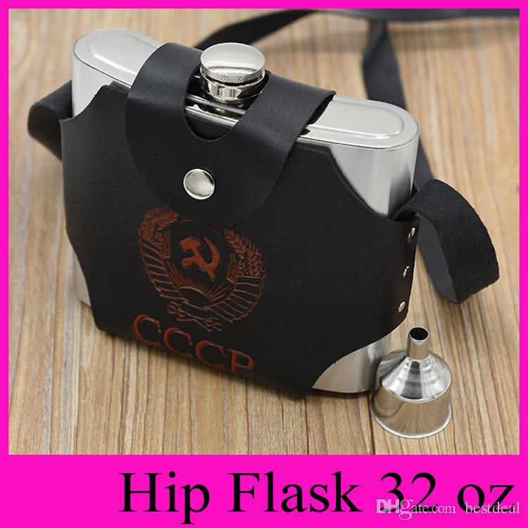 Leather Bag 32 oz Hip Flask Stainless Steel Hip Flasks With Funnel Portable  Flagon Skin Pouch Outdoor 32 Ounce Whisky Stoup 2018 New Hot