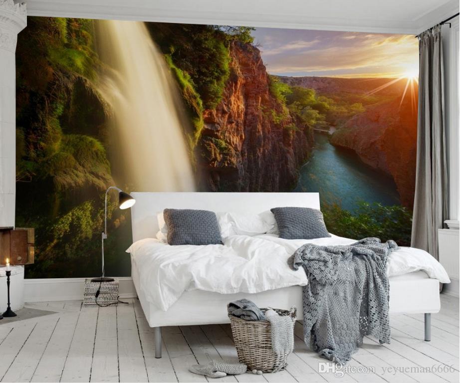 Bela Paisagem Home Improvement Foto Papel De Parede lago cachoeira tv parede decoração pintura papel de parede mural 3d