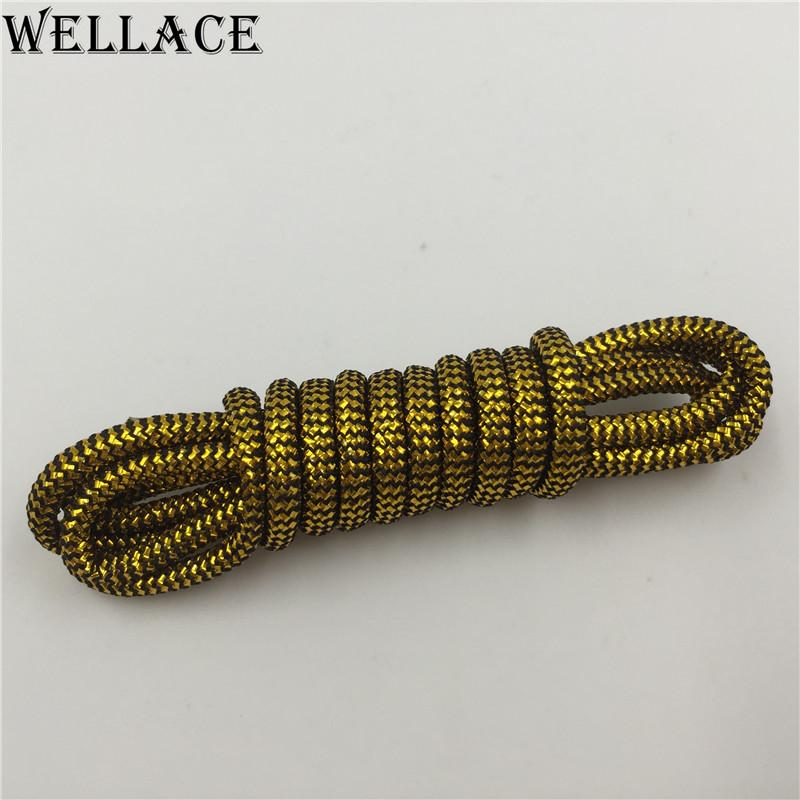 Wellace Round type Metallic Glitter Shoelaces Shoe Laces String for Sneaker sport dress shoes wholesales