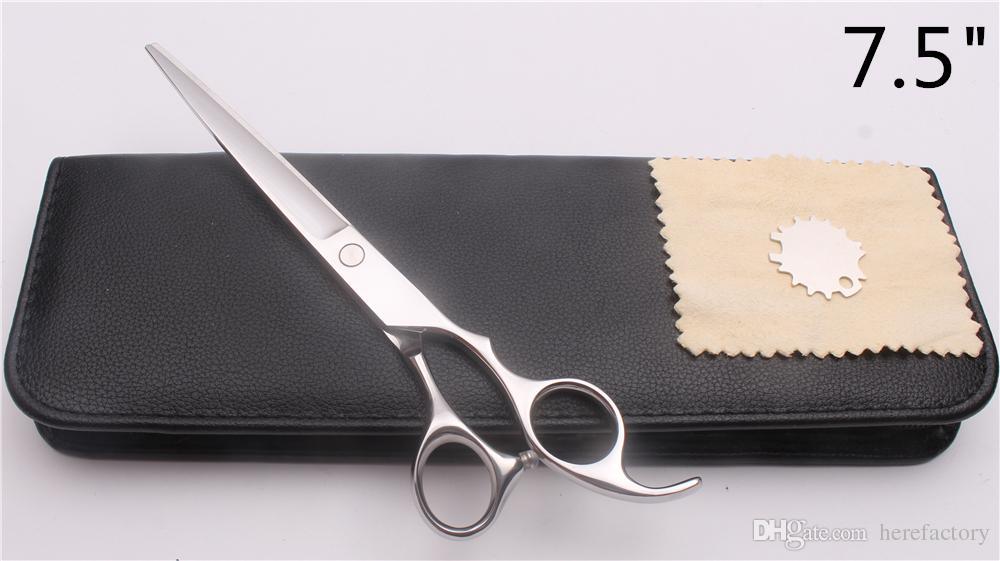 C1006 7.5 pollici Giappone 440C Logo personalizzato Argento Professionale Forbici Dei Capelli Umani Barbiere Cesoie Parrucchiere Taglio o Affilatura Forbici