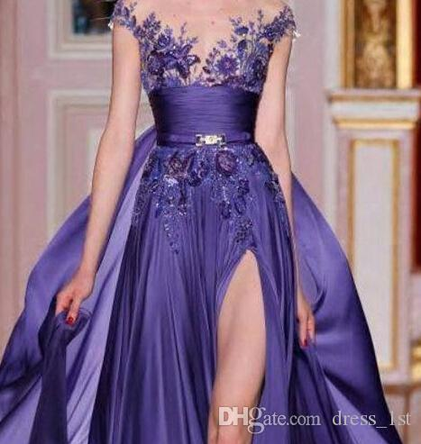 Zuhair murad 2016 Lavender Chiffon Side Split Overskirts Evening Dresses Sexy Sheer Neckline Embroidery Long Formal Party Gowns EN6294