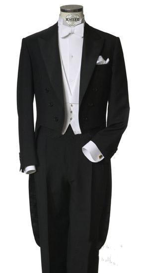 Classic Black Tailcoat Groom Tuxedos Long Tail Men Wedding Suits Bridegroom Best Man Groomsmen Wedding Party Prom Suits Jacket+Vest+Pants