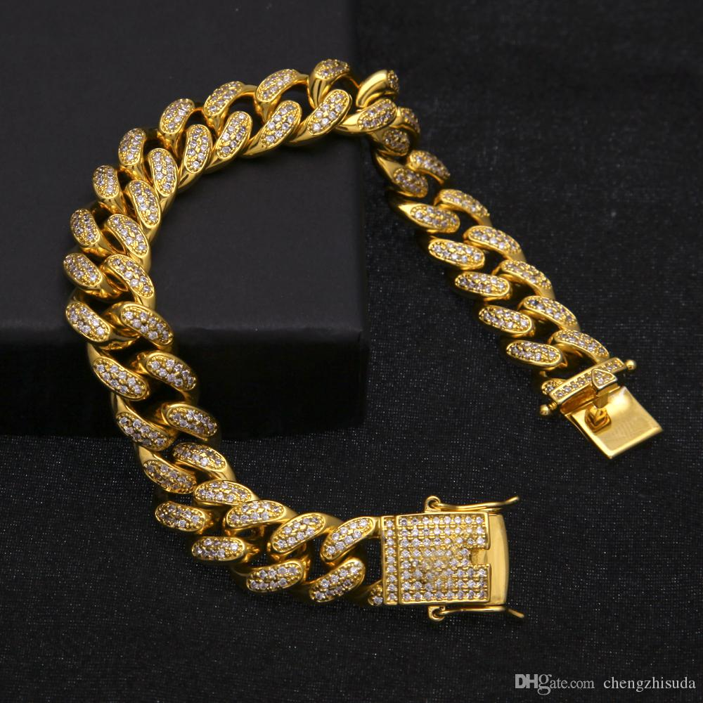 12MM 6/7/8/9/10inches Men Zircon Miami Cuban Link Chain Bracelet Gold Silver Rosegold Thick Heavy CZ Hiphop Jewelry