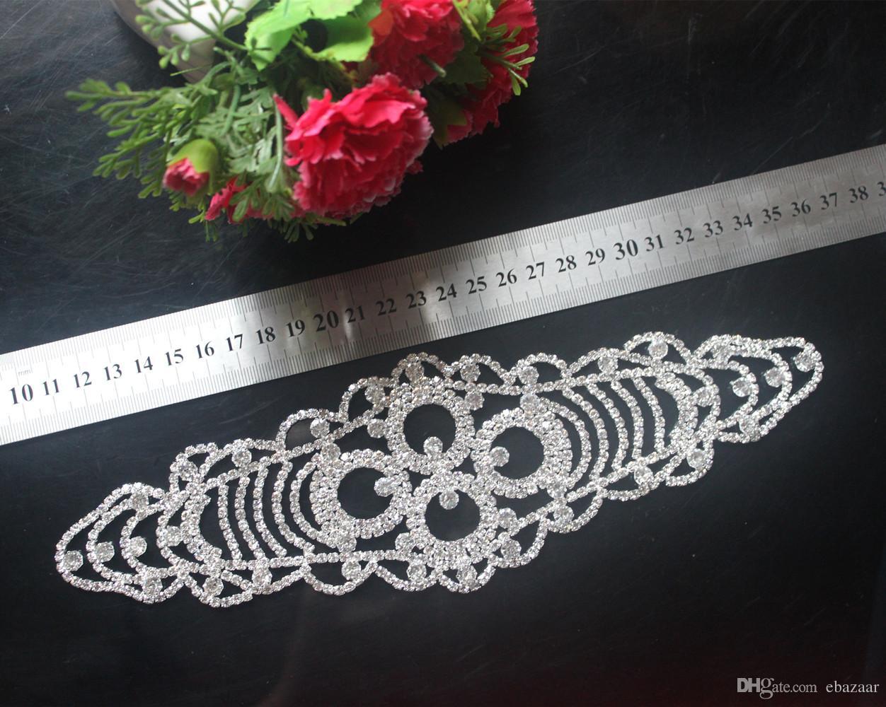 strass trim nozze da sposa sew on abito applique argento strass di cristallo cintura sash cintura decorazione di cerimonia nuziale