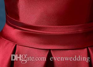 반 슬리브 레이스 새틴 칵테일 드레스 짧은 2020 우아한 여성 드레스 파티 우아한 무릎 길이 파티 가운 부르고뉴